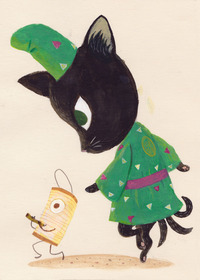 Yokai Cat and Lantern, Chuck Groenink