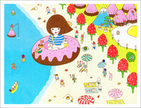 Doughnut Tour - Wonderful beach (print), Naoshi