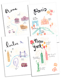 Emma Block Travel Maps prints, Emma Block