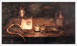 Tale of Tales - Little Wolf Table with Cat (unframed), Yuri Norstein