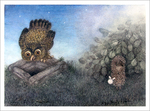 Hedgehog & Owl on a Well (unframed), Yuri Norstein