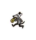 Money Mouse Enamel Pin - Little Friends in Printmaking, The Little Friends of Printmaking