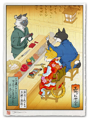 Sushi Cats - Print, Jed Henry