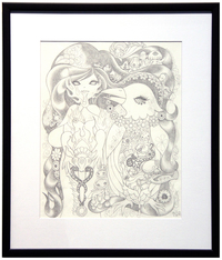 Ravina and Crow: Pencil Drawing, Junko Mizuno