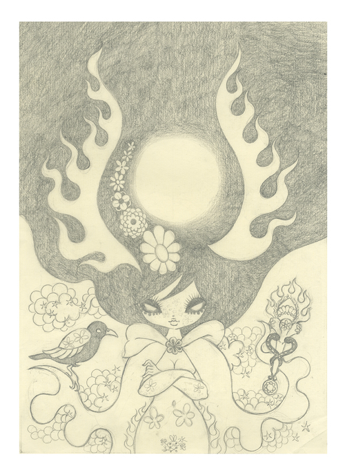 Ravina Cover Art Study 3: Pencil Drawing (Unframed), Junko Mizuno