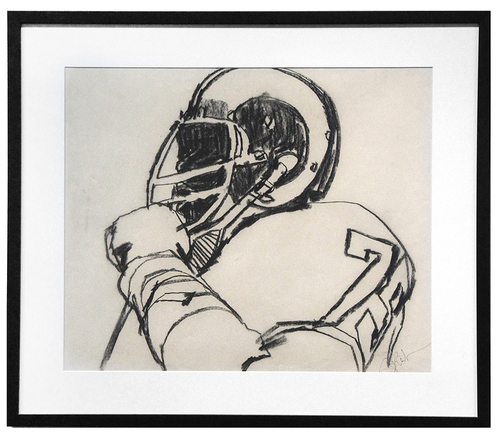 Sports Illustrated Magazine Sketch for Professional Football, Bob Peak